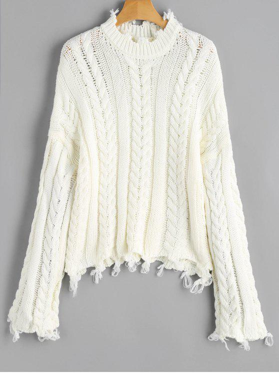 Frayed Hem Cable Knit Sweater OFF-WHITE: Sweaters ONE SIZE | ZAFUL