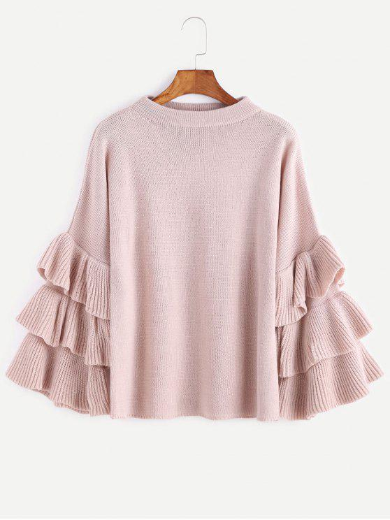 fashion Flouncy Layered Sleeve Pullover Sweater - PINK ONE SIZE