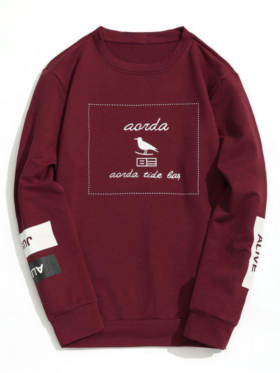 women's Graphic Marled Crew Neck Sweatshirt - BURGUNDY XL