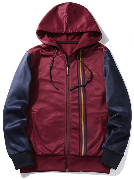 ad499ff8bc39 30% OFF  2019 Fleece Style Graphic Zip Up Hoodie In WINE RED