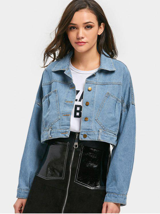 d1893725ae269 36% OFF  2019 Cropped Lace-up Denim Jacket In LIGHT BLUE ONE SIZE ...