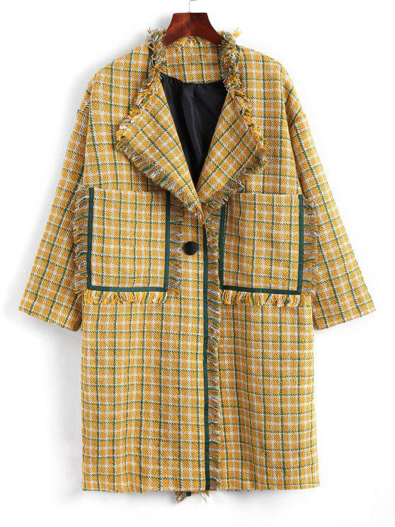 online One Button Side Slit Frayed Checked Coat - MUSTARD ONE SIZE