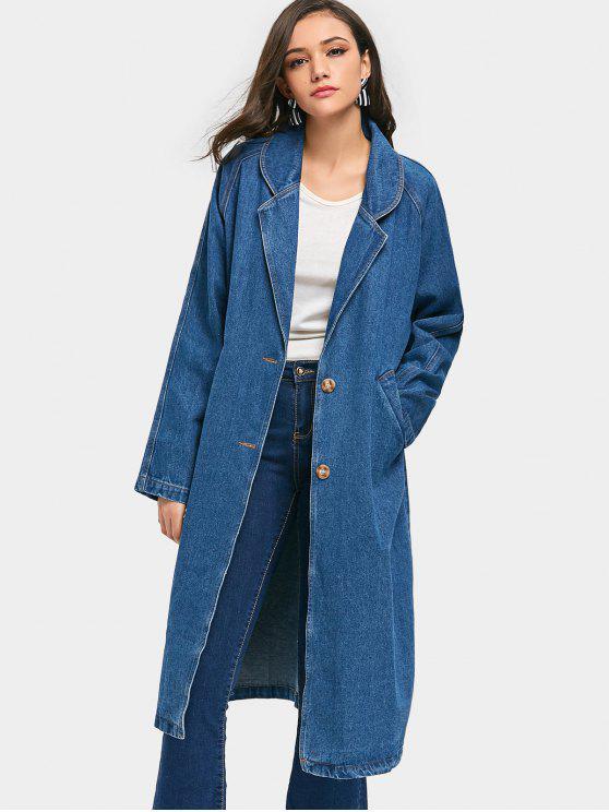 Longline Denim Coat - Denim Blue