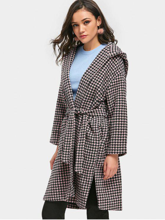 Hooded Houndstooth Wrap Coat PINK: Jackets & Coats M | ZAFUL