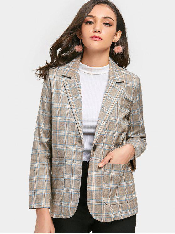 Gingham Blazer à Bouton Simple - Carré M