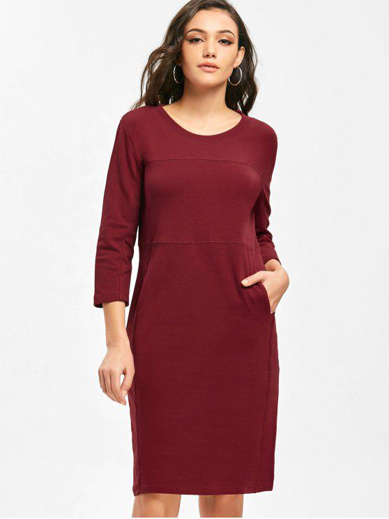 shop Three Quarter Sleeve Work Sheath Dress - WINE RED M