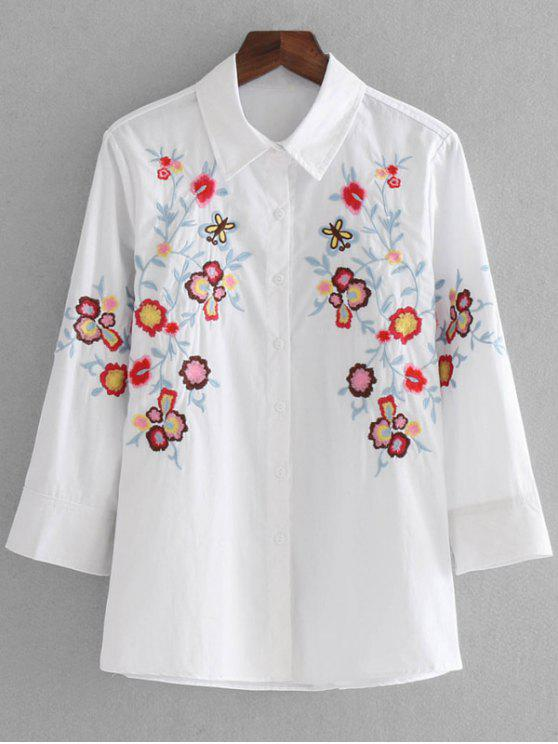 901d46f5 28% OFF] 2019 Loose Button Down Embroidered Shirt In WHITE | ZAFUL
