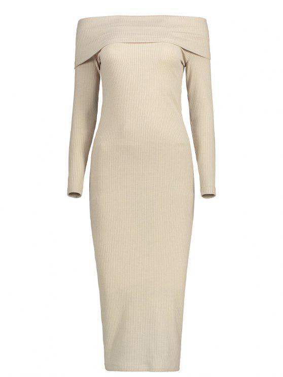 Robe Tricotée Simple à Épaules Dénudées - Kaki Clair L