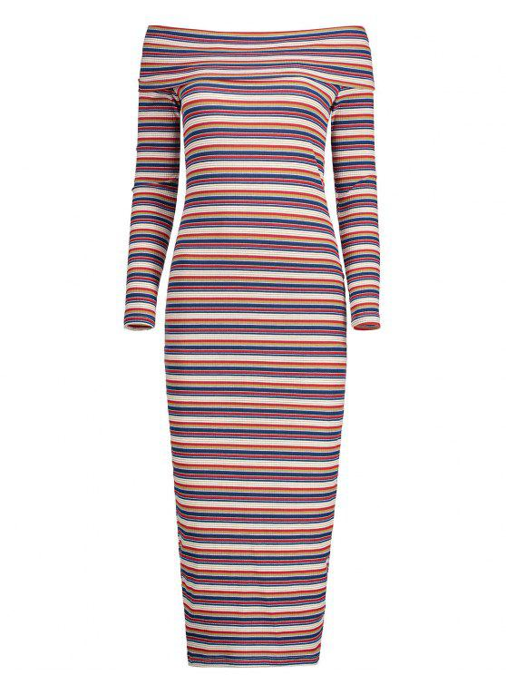 fancy Off The Shoulder Striped Knitted Dress - STRIPE XL