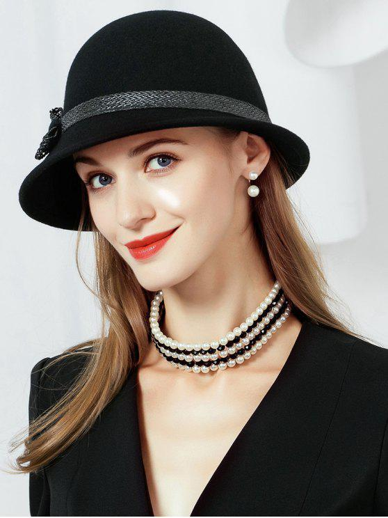 2019 Bowknot Embellished Faux Wool Fedoras Hat In BLACK  db1ffc513c7