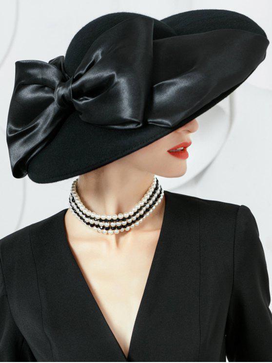 Bowknot Ribbon verschönert Woolen Damen Hut - Schwarz