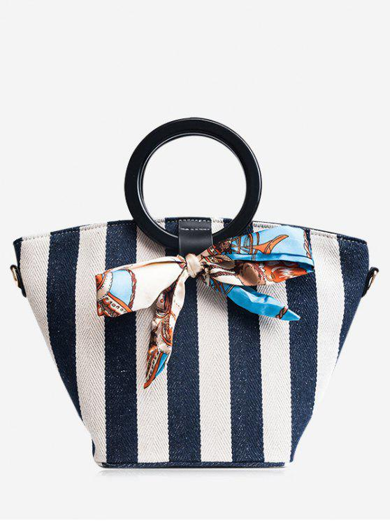 best Color Block Scarf Striped Tote Bag - BLUE