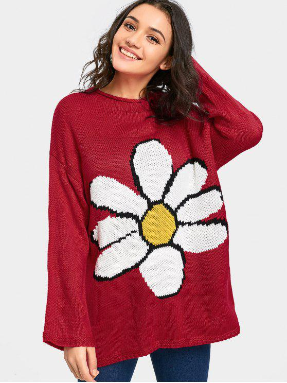 Big Flower Drop Shoulder Tunic Sweater BURGUNDY: Sweaters ONE SIZE ...