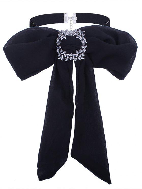 Strassierte Blumen Schleife Krawatte Samt Halsband - Schwarz