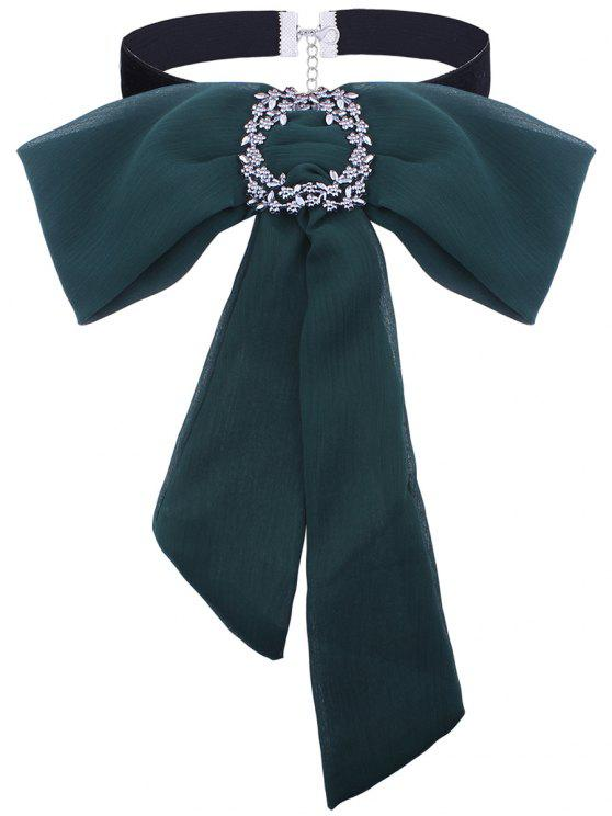 Rhinestoned Flower Arcos Tie Velvet Choker Necklace - Verde