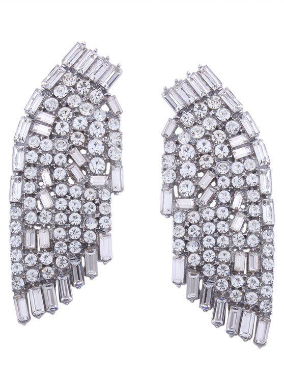 Fancy Sparkly Rhinestoned Angel Wings Earrings White