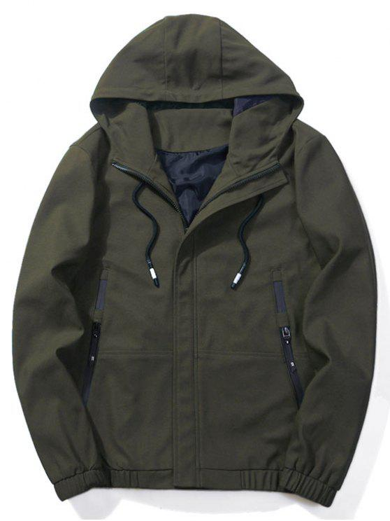 Zip-pockets Hooded Jacket ARMY GREEN: Jackets & Coats M | ZAFUL