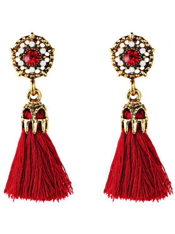unique Rhinestone Embellished Artificial Gem Tassel Drop Earrings - RED