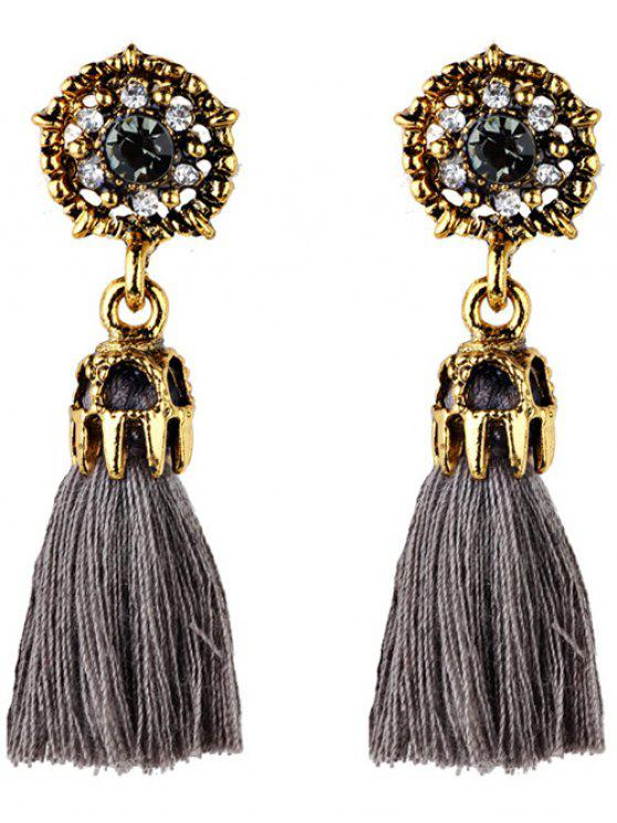 ladies Rhinestone Embellished Artificial Gem Tassel Drop Earrings - GRAY