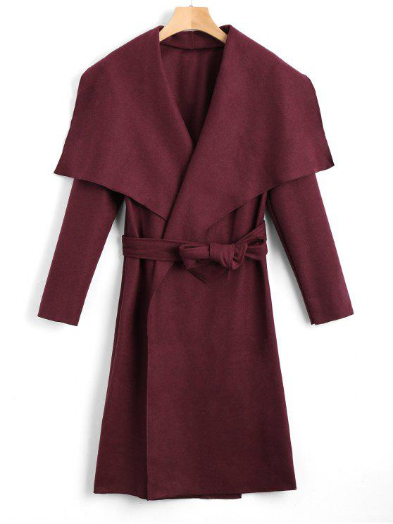 best Shawl Collar Belted Coat - WINE RED S