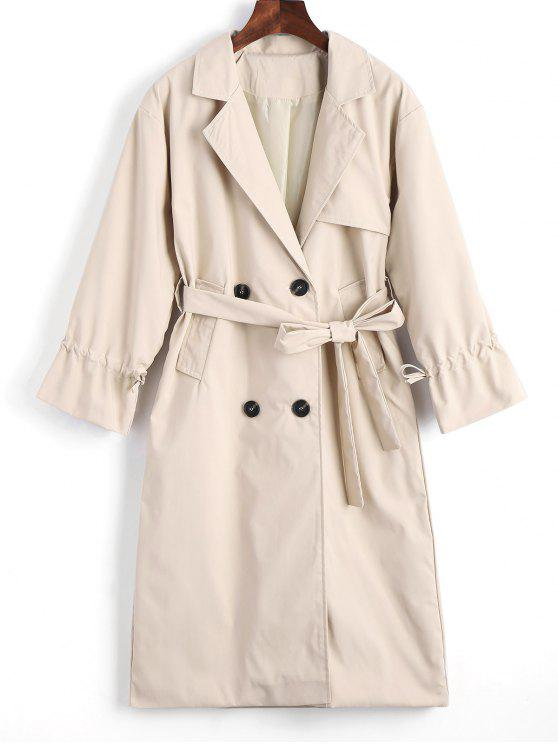 fashion Button Up Belted Lapel Trench Coat - LIGHT KHAKI S