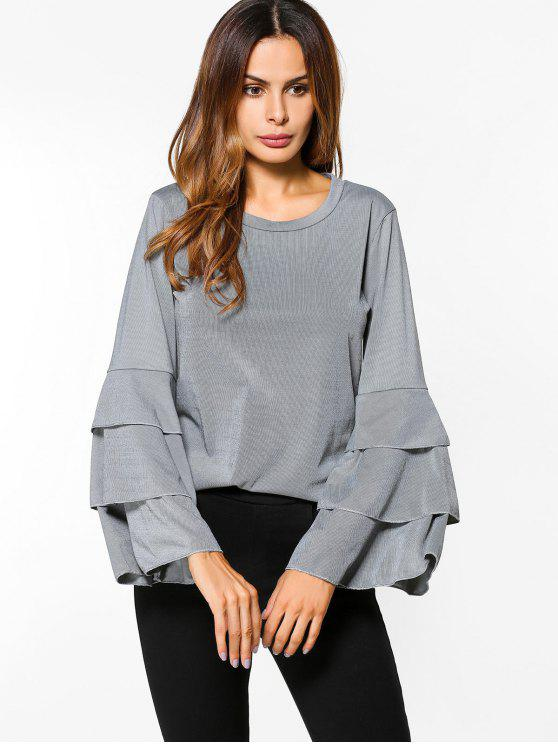 fashion Layered Flare Sleeve Top - GRAY S
