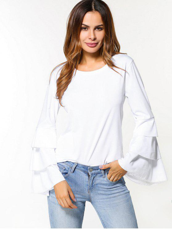 ladies Layered Flare Sleeve Top - WHITE S
