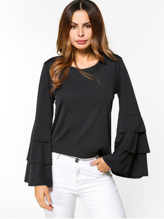 shops Layered Flare Sleeve Top - BLACK S