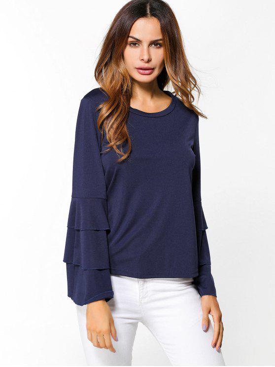 womens Layered Flare Sleeve Top - PURPLISH BLUE S