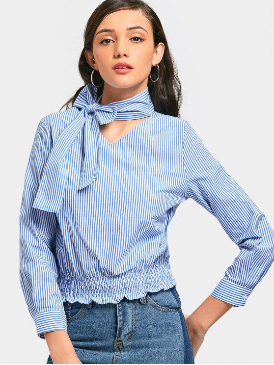 shop Bowknot Choker Striped Blouse - BLUE S