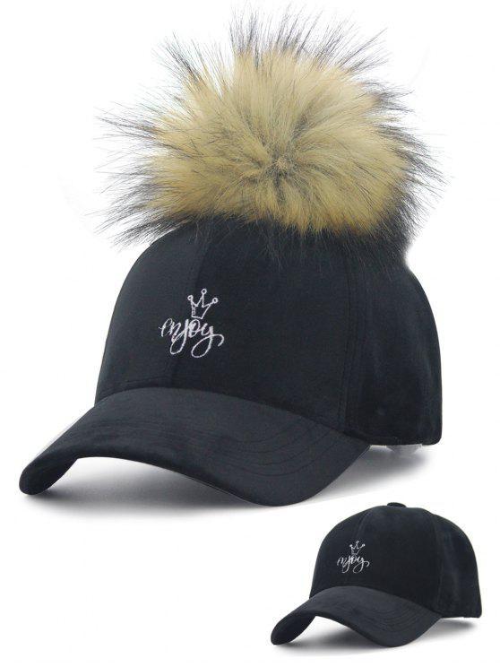 Cappello di baseball di velluto della parte superiore del ricamo della sfera fuzzy staccabile - Nero