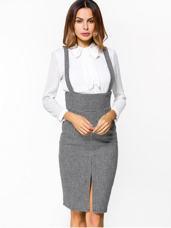outfit Front Slit Houndstooth Suspender Skirt - HOUNDSTOOTH M