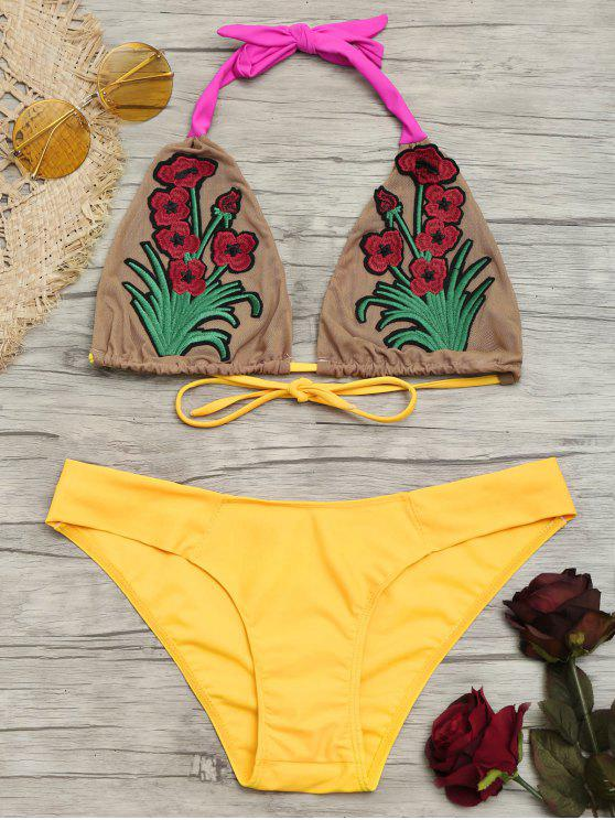 Bralette Floral Patch Mesh Bikini Set - Amarelo S