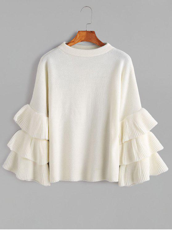 shops Flouncy Layered Sleeve Pullover Sweater - WHITE ONE SIZE