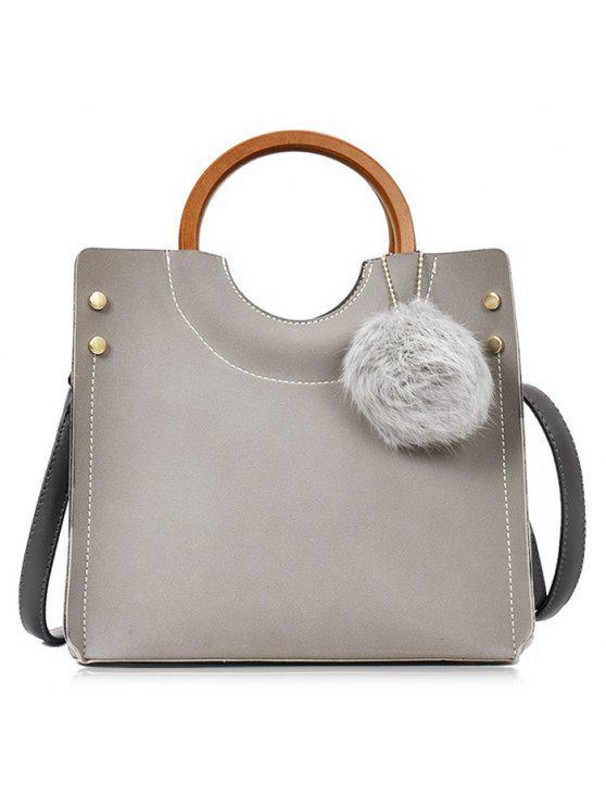 بومبوم الأزرار خياطة حمل حقيبة مجموعة - رمادي