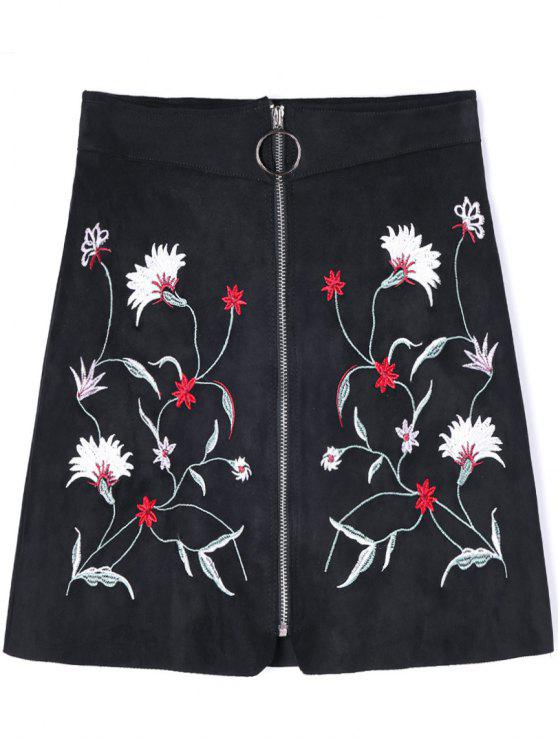unique Zippered Floral Embroidered A-line Skirt - BLACK M