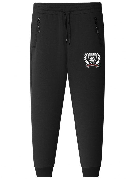 sale Graphic Drawstring Jogger Pants - BLACK 5XL