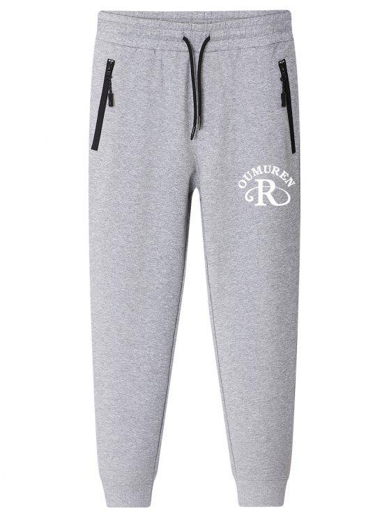outfits Letter Slogan Drawstring Jogger Pants - GRAY 4XL