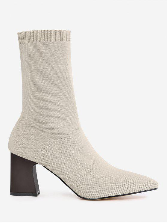 sale Pointed Toe Fold Over Block Heel Boots - APRICOT 36
