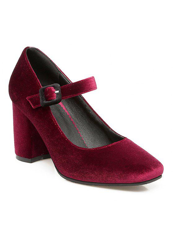 outlet perfect outlet marketable Squared Toe Stacked Heel Velour Mary Jane Pumps - Wine Red 36 classic 100% guaranteed cheap price collections online vdALW
