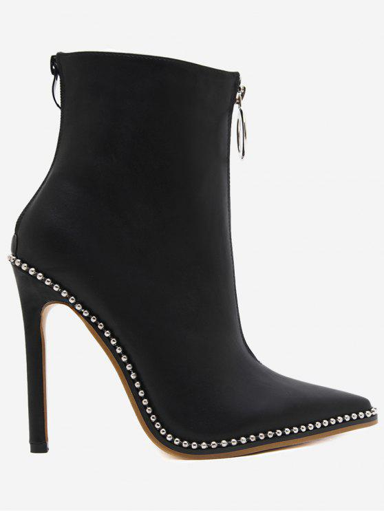 hot Rivets Pointed Toe Stiletto Heel Boots - BLACK 38