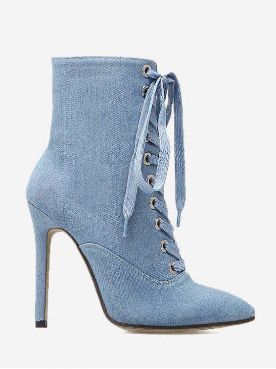 b1c9dc47a68 41% OFF  2019 Tie Up Pointed Toe High Heel Denim Boots In LIGHT BLUE ...