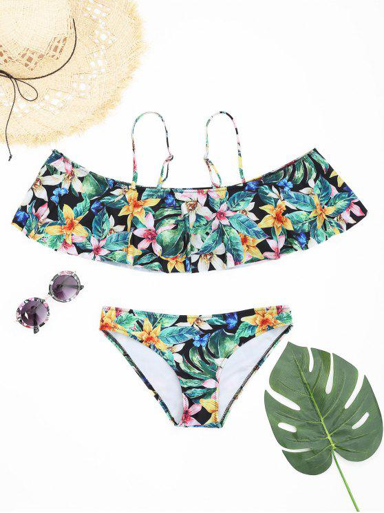 4748501fb7 21% OFF] 2019 Overlay Floral Ruffles Cami Bikini Set In FLORAL | ZAFUL
