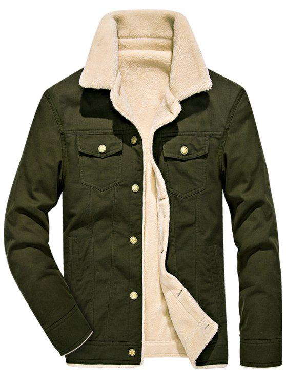 Perfect Chest Button Pocket Faux Shearling Denim Jacket ARMY GREEN  FI64