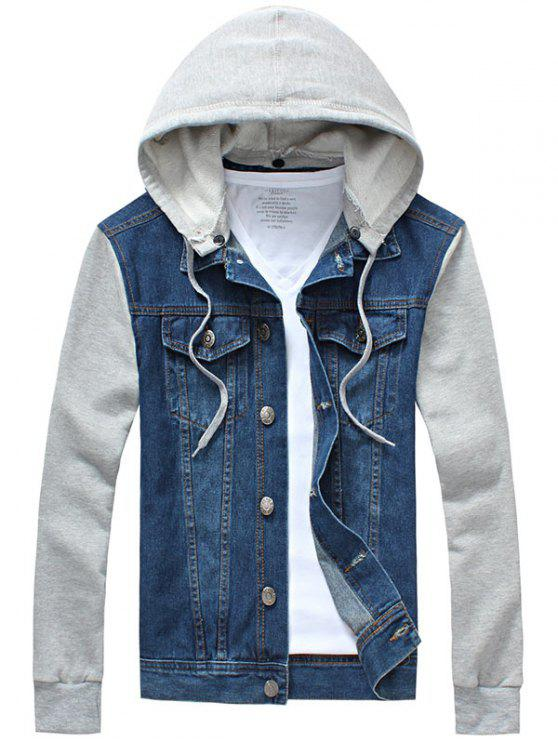 latest Panel Design Denim Jacket with Detachable Hood - BLUE L