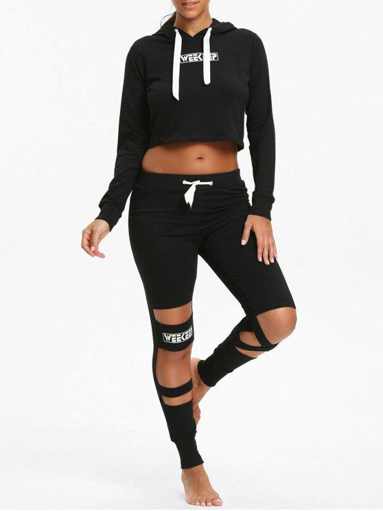outfits Crop Hoodie and  Cutout Letter Leggings - BLACK S