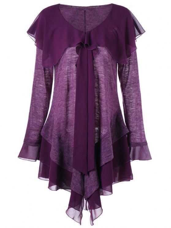 Plus Size Long Sleeve Panel Asymmetric Tiered Dress Purple Plus