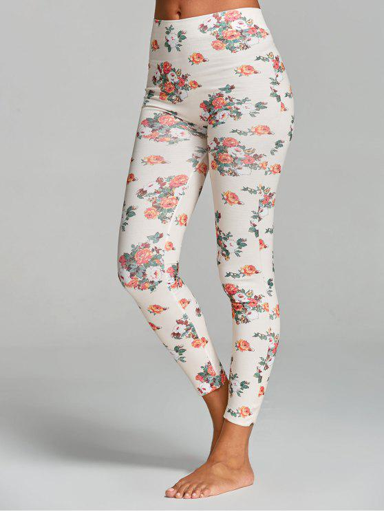 buy Floral Printed Yoga Leggings - WHITE ONE SIZE
