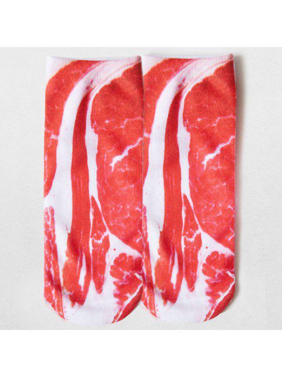 مضحك الكرتون مخيف لحم الخنزير مزين الجوارب الكاحل - أحمر