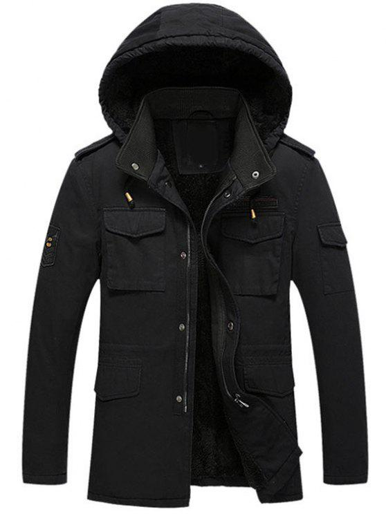 outfit Hooded Flocking Zipper Jacket - BLACK L